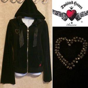Twisted Heart Embellished Black Velour Hoodie♥️